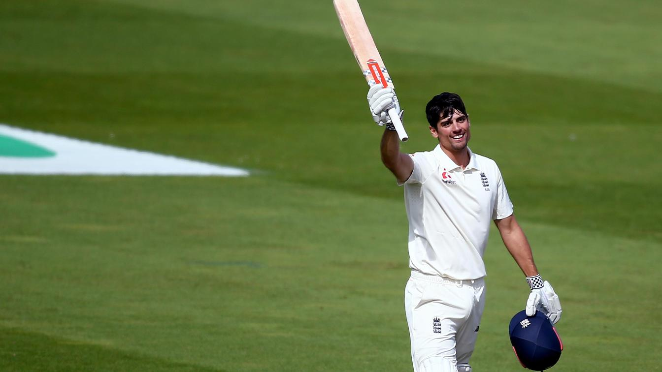 Alastair Cook celebrates his 33rd Test century