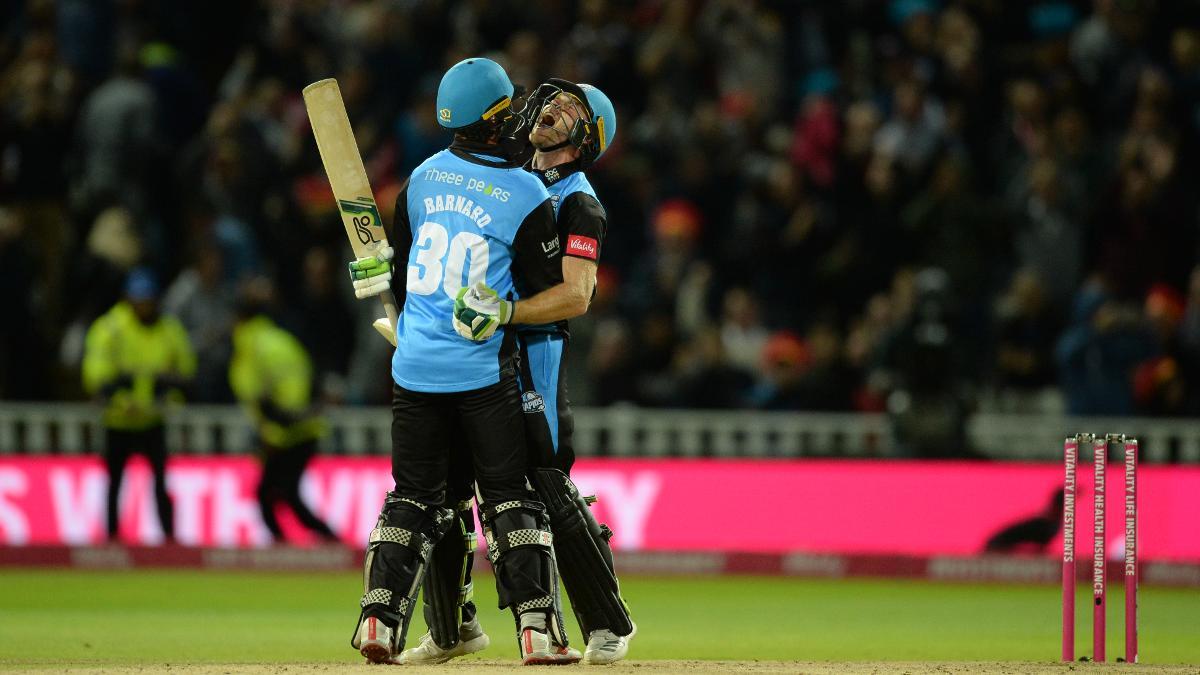 Ben Cox celebrates after hitting the winning runs