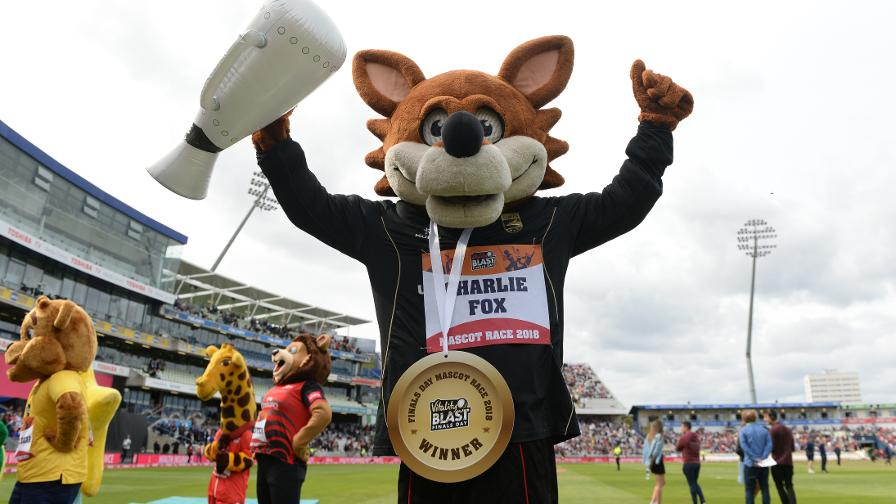 Leicestershire's Charlie Fox wins the Mascot Race