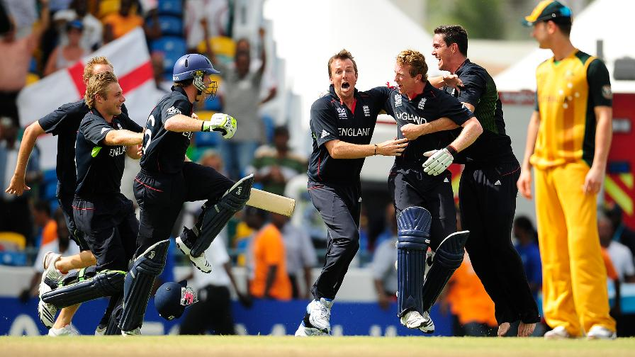 Captain Collingwood strokes the winning run to secure England the World T20 title