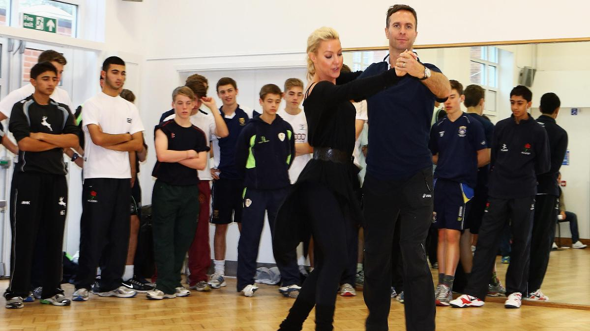 The England U17 squad were invited to watch Michael Vaughan and Strictly Come Dancing partner Natalie Lowe rehearsing in 2012