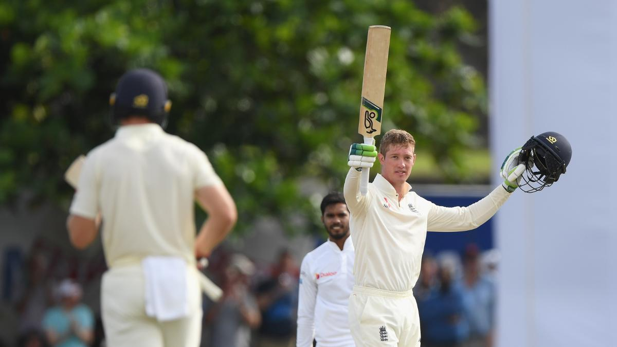 Keaton Jennings celebrates after reaching his second Test hundred in Galle