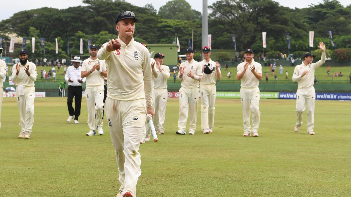 Jack Leach salutes the crowd after taking five wickets in Sri Lanka's second innings