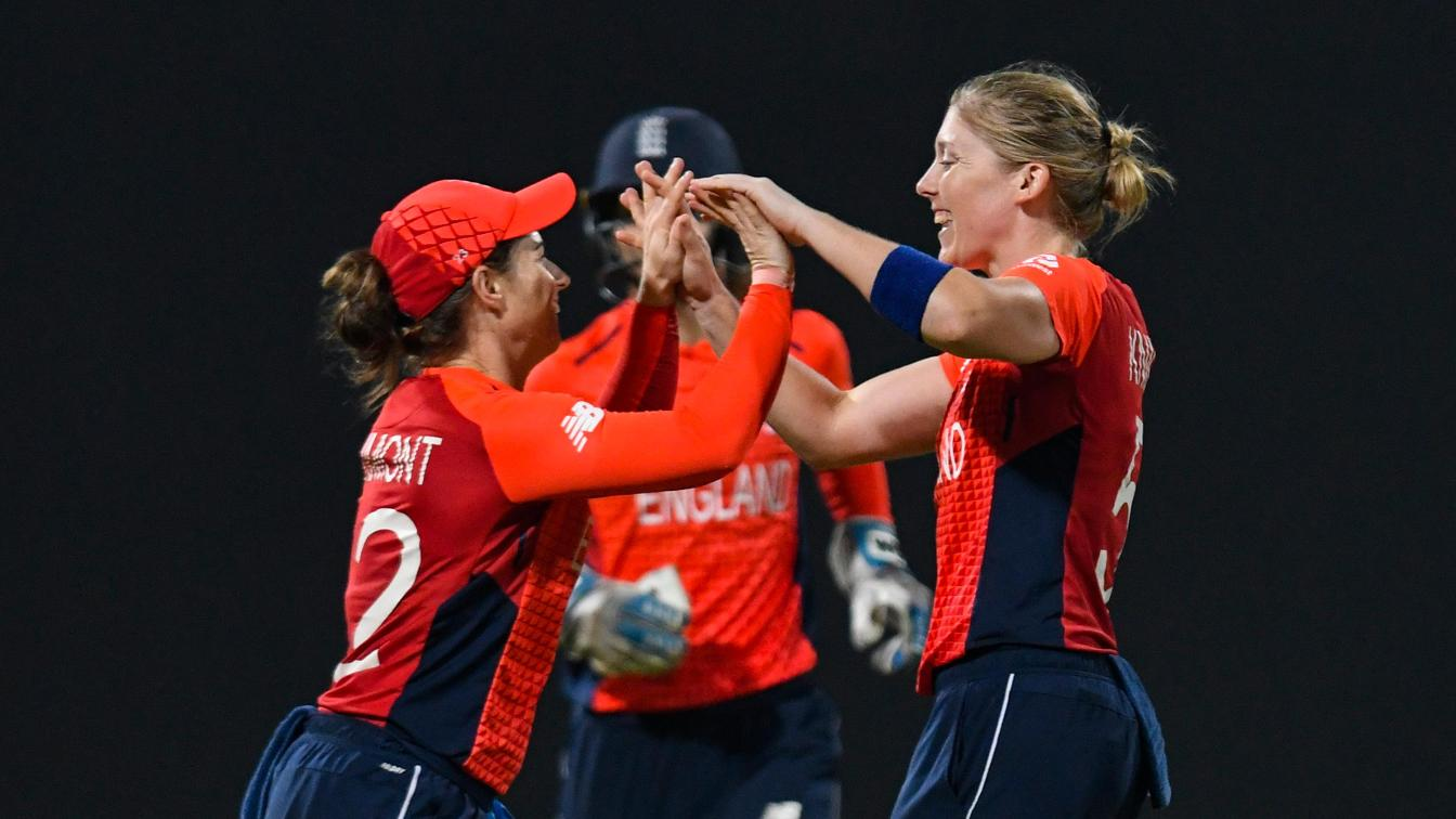 Tammy Beaumont and Heather Knight celebrate