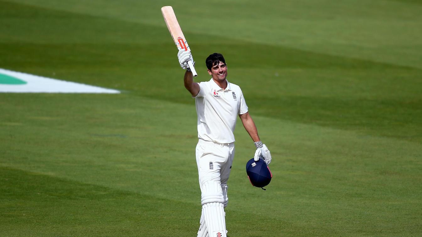 Alastair Cook celebrates his 33rd Test century