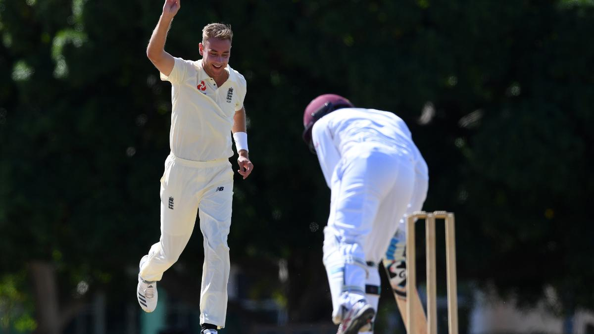Stuart Broad strikes with the first ball of the day at the Three Ws Oval