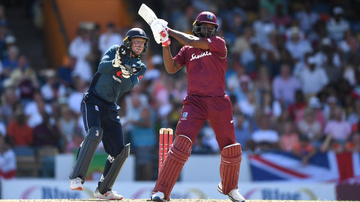 Chris Gayle hits out during his 135 against England