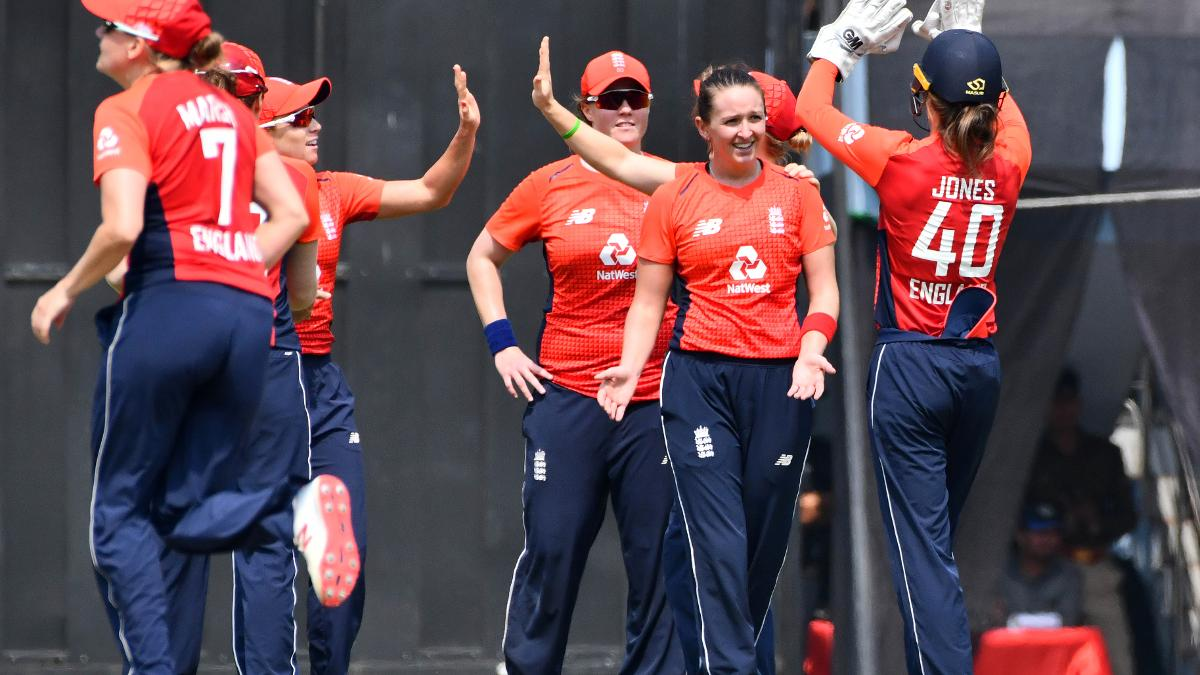 Kate Cross celebrates a wicket