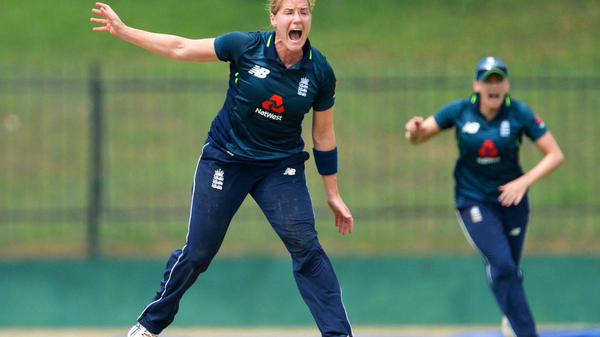 Katherine Brunt gets a wicket in Sri Lanka