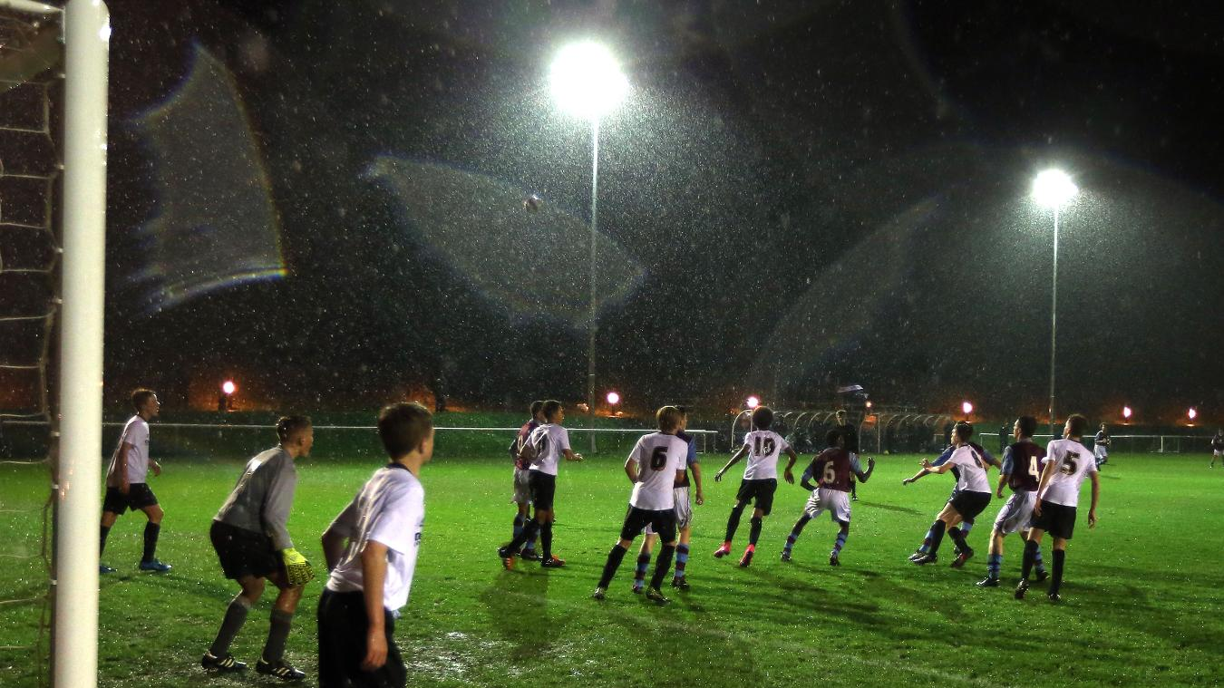 The two teams play under the floodlights at Moor Farm