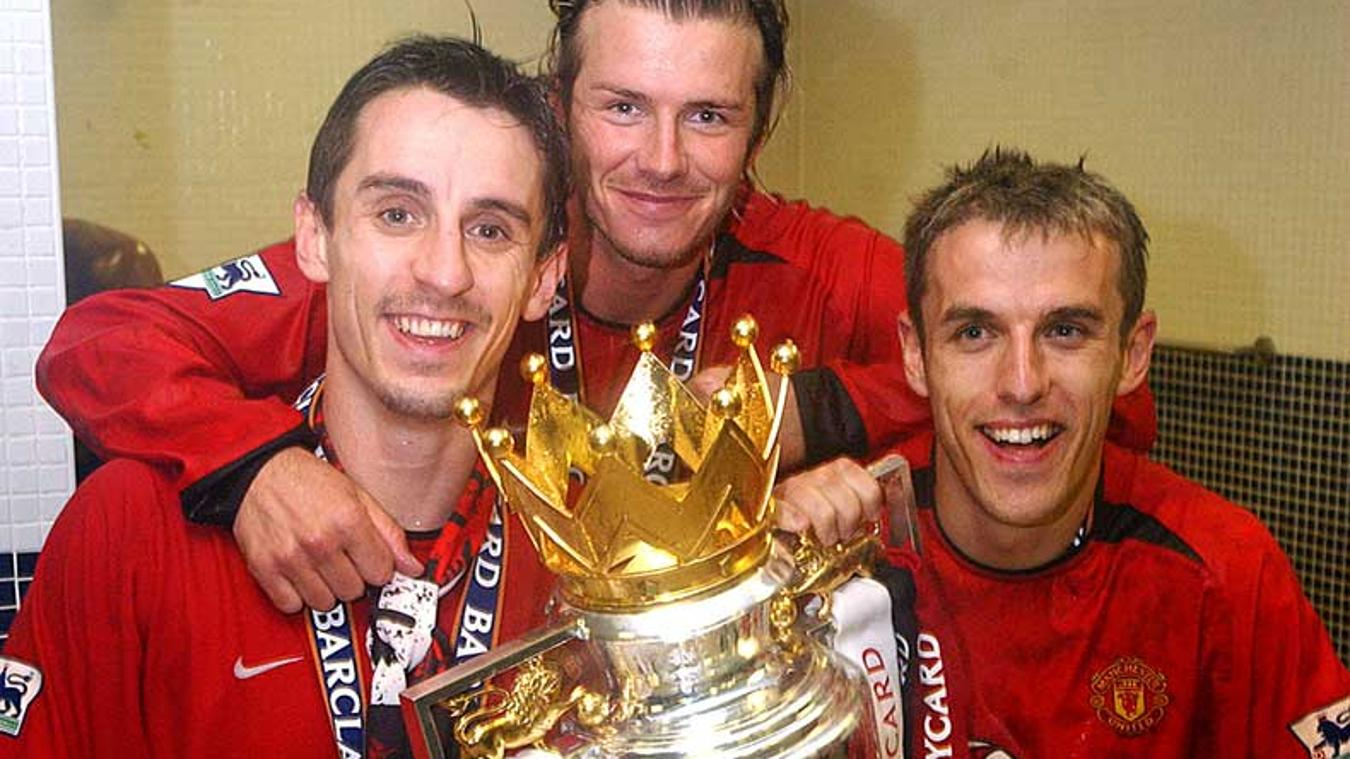Neville, with his brother, Gary, and David Beckham after another successful title challenge