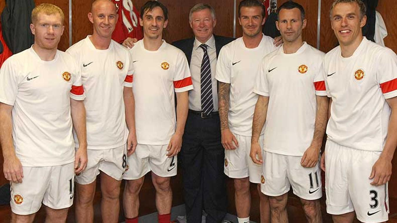 As part of the 'Class of '92', Neville, far right, learnt a lot from his peers at Manchester United
