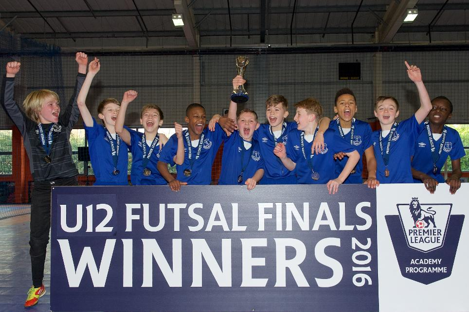Everton celebrate the U12 Futsal Finals title