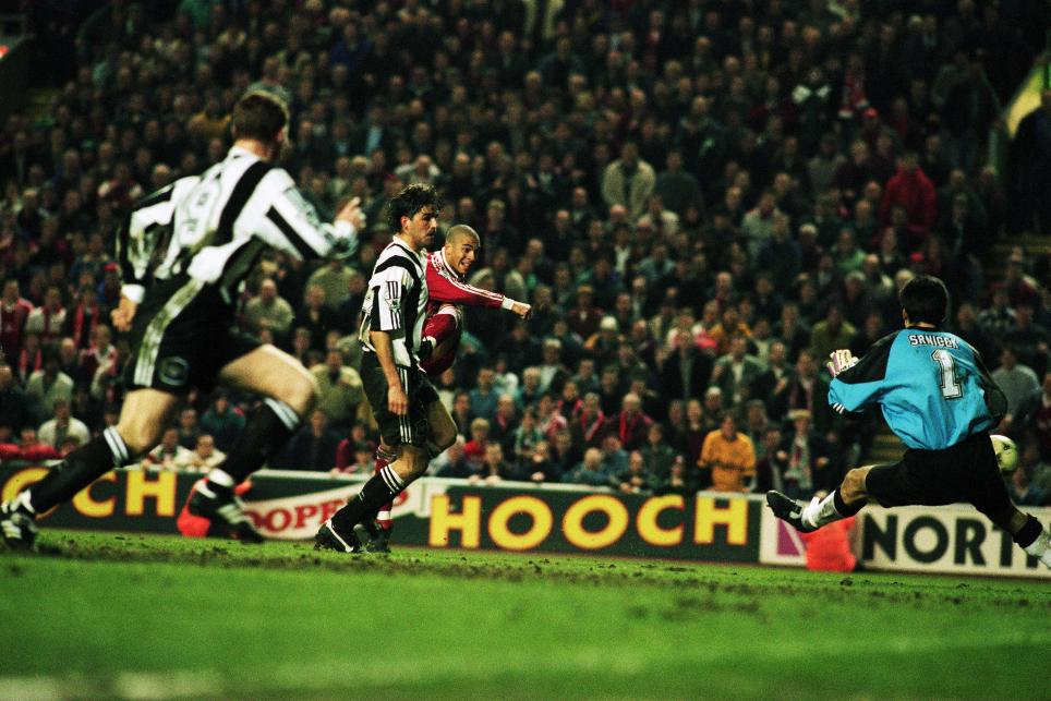Stan Collymore fires in Liverpool's 90th minute winner against Newcastle United