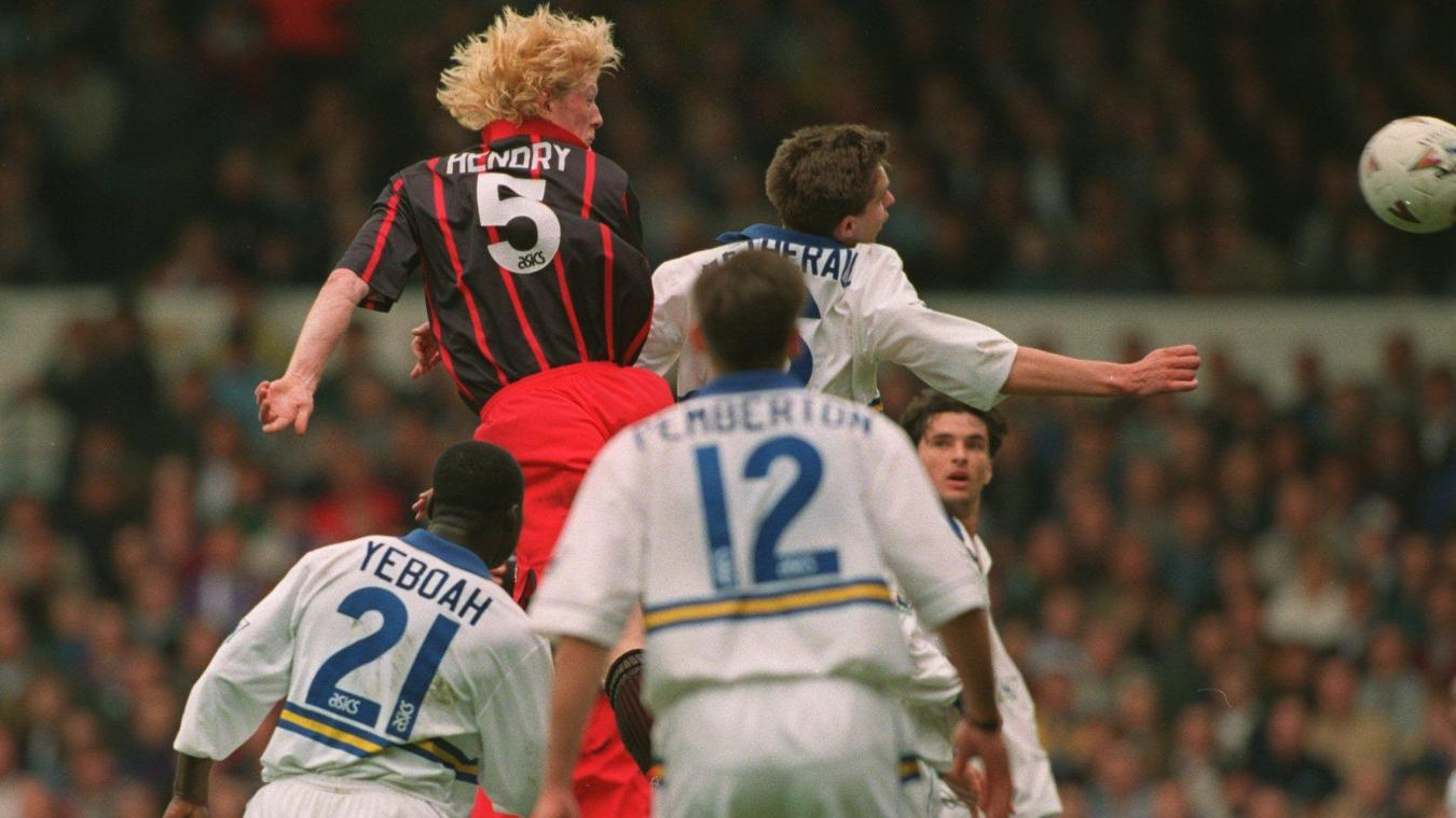 Colin Hendry towers above the Leeds defence to score in an important draw in April 1995