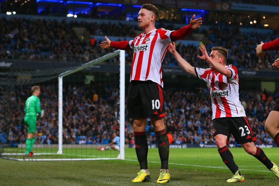 Connor Wickham celebrates scoring in the 2-2 draw at Manchester City