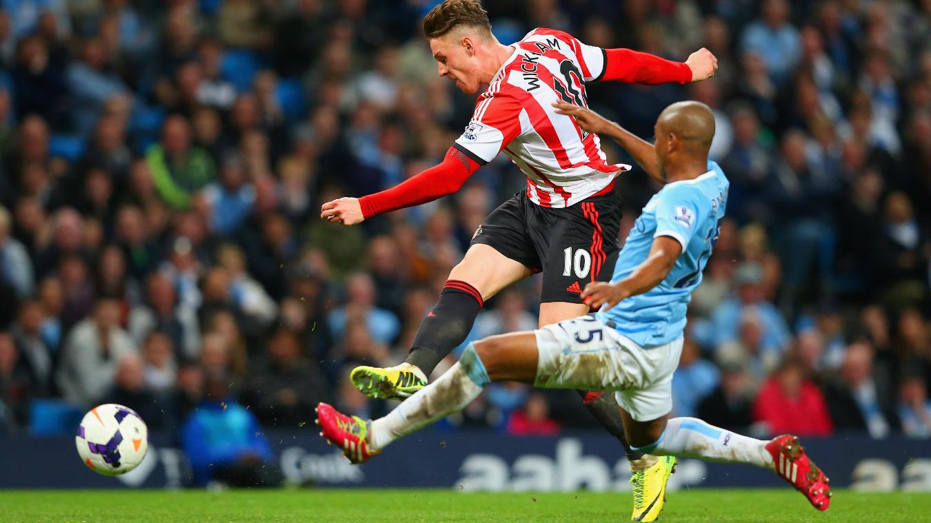 Connor Wickham's double had Sunderland 2-1 up at Man City until late on
