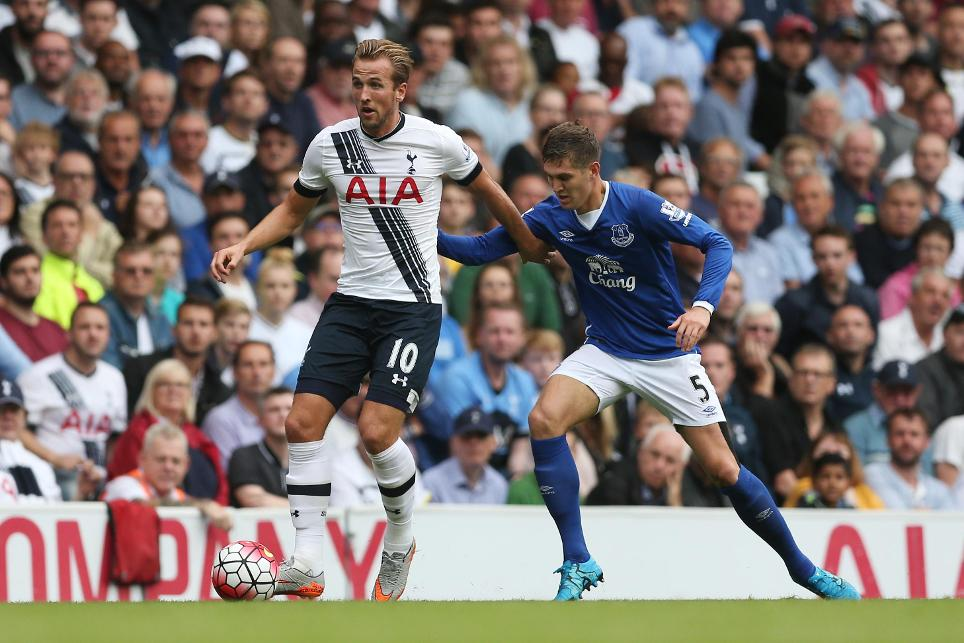 Spurs striker Harry Kane against fellow England international John Stones