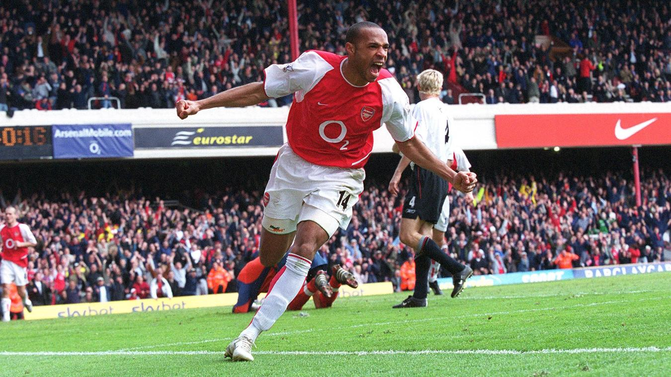 Top scorer Thierry Henry celebrates scoring a hat-trick in a comeback win over Liverpool
