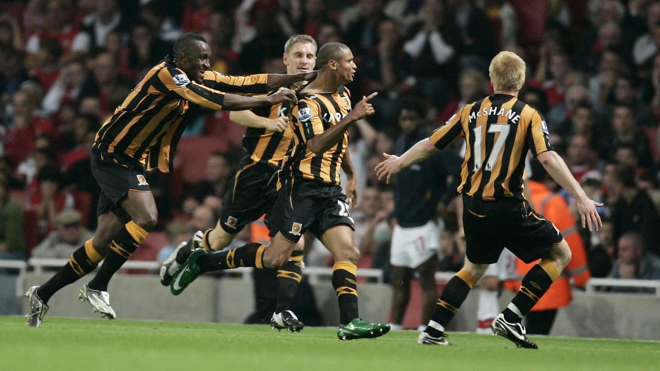 Daniel Cousin celebrates his winner for Hull City at Arsenal