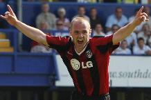 Danny Murphy celebrates scoring the goal that kept Portsmouth up