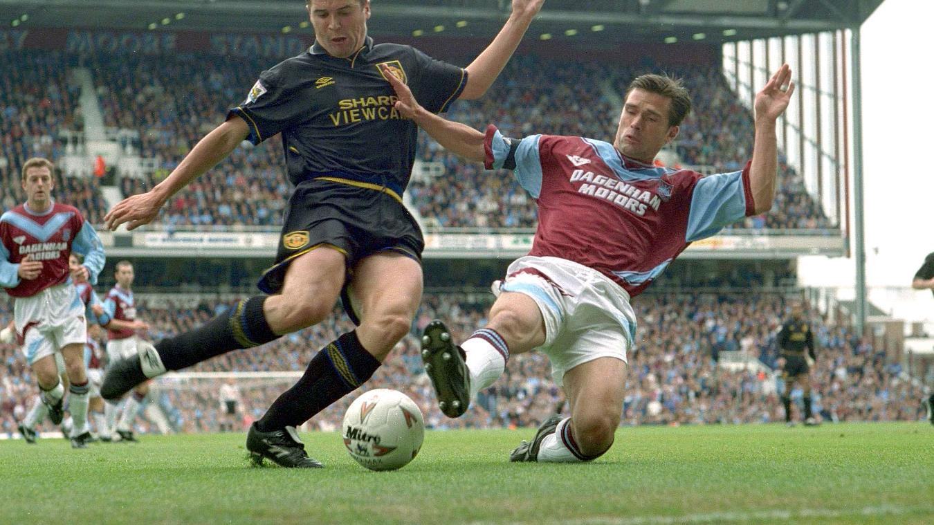 Roy Keane, Manchester United and Steve Potts, West Ham in 1994/95