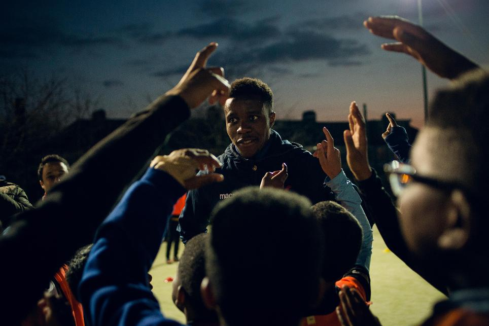 Wilfried Zaha visits Premier League Kicks in Croydon