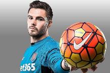 Stoke City goalkeeper Jack Butland with the Offcial Nike Ordem 3 match ball