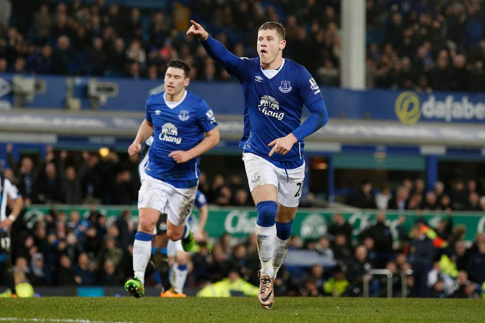 Midfielder Ross Barkley celebrates scoring for Everton